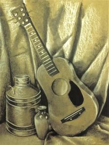 Guitar Still Life Charcoal