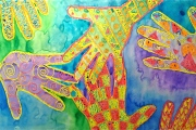 Hand Print Pattern Crayon Resist