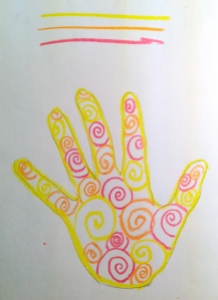 Handprint with Warm Color Pattern