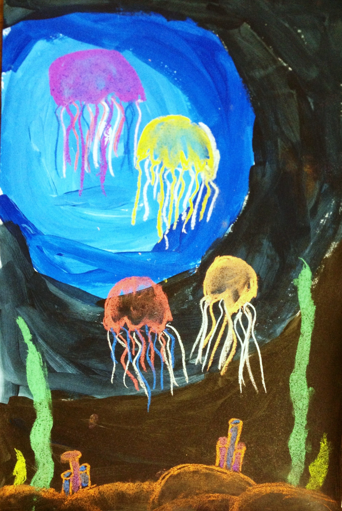 Jelly Fish Mixed Media Value Lesson - Create Art with ME
