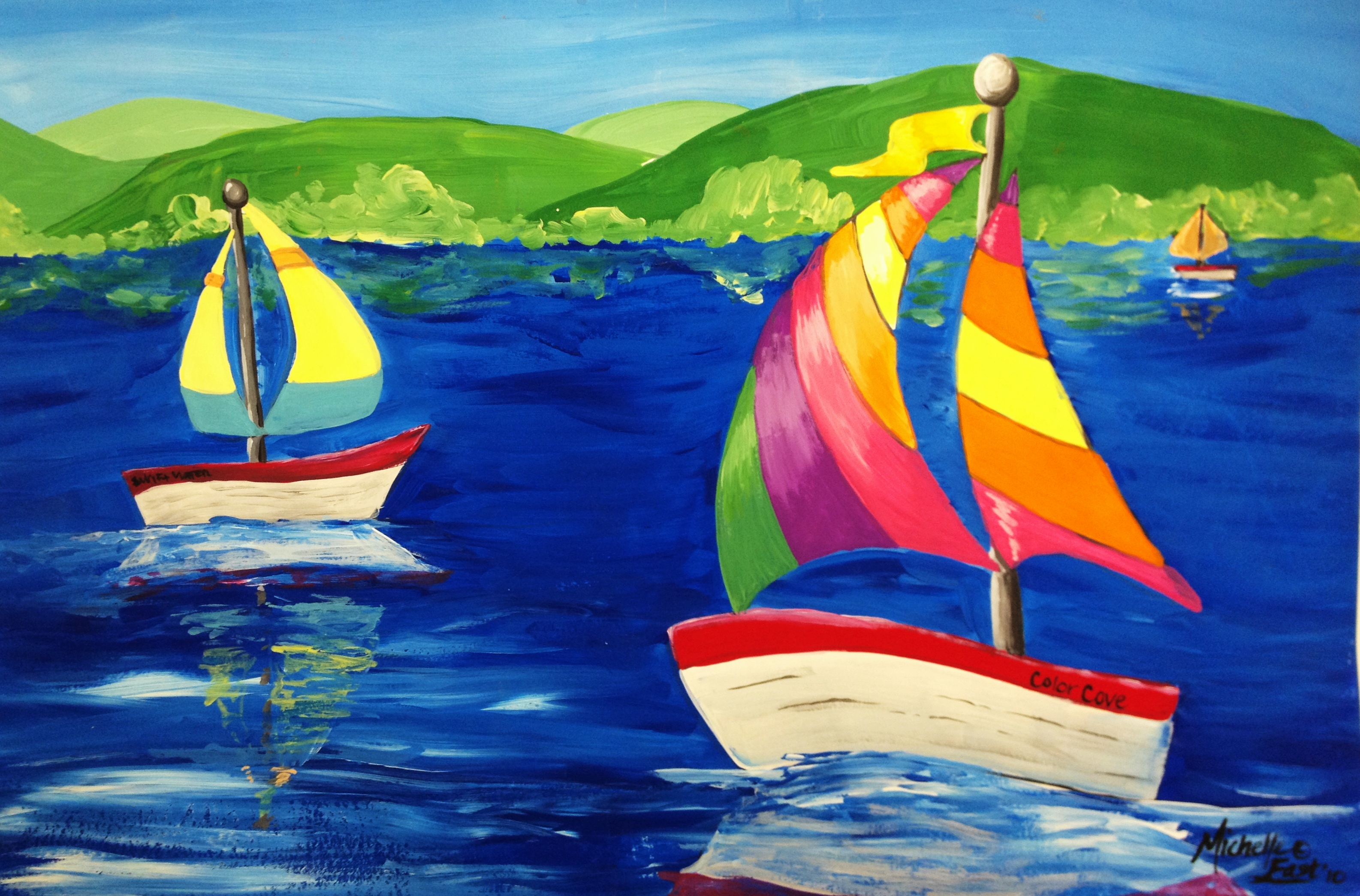 Space and claude monet sailboat art lesson create art for Mural examples