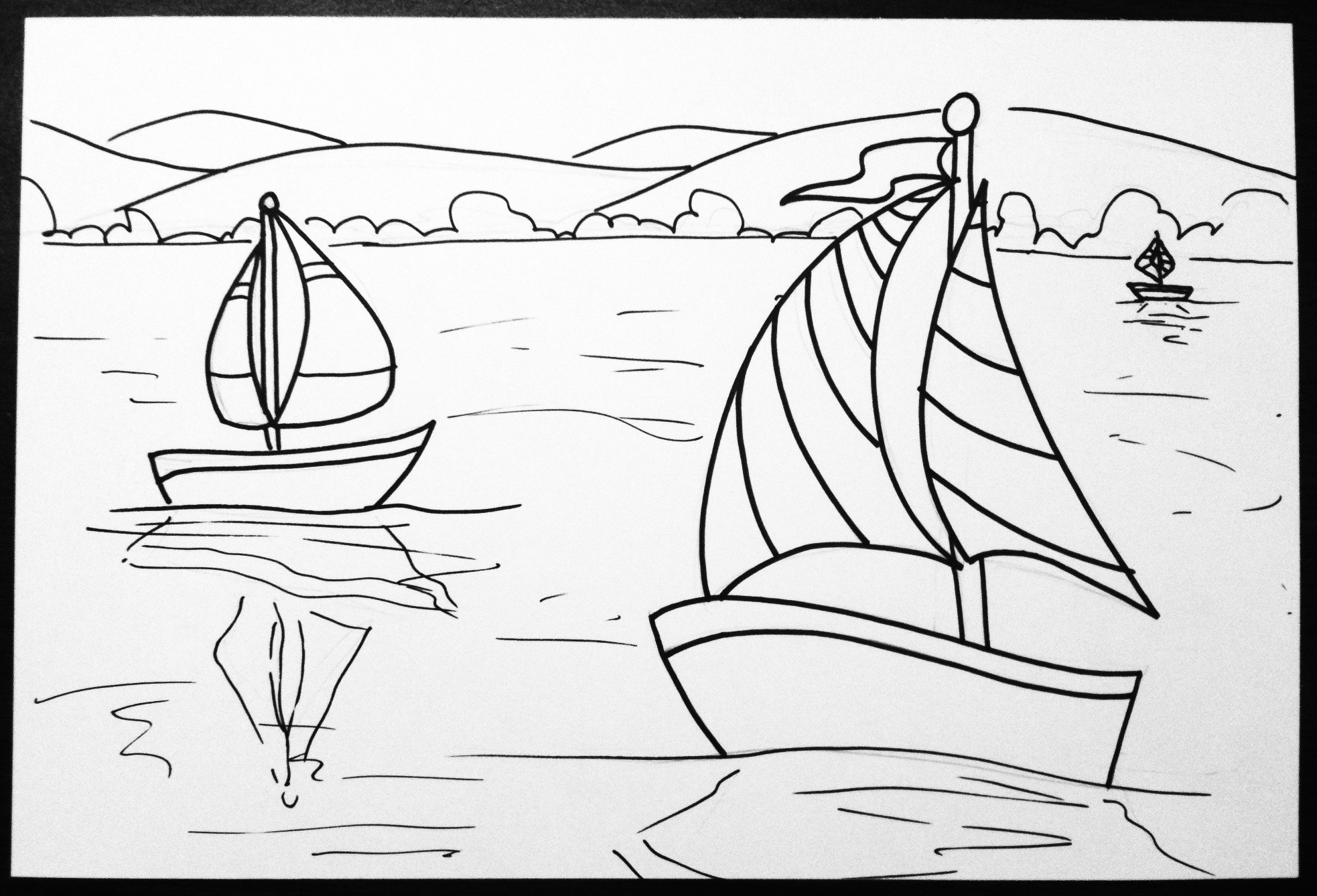 Line Art Grade 2 : Space and claude monet sailboat art lesson create