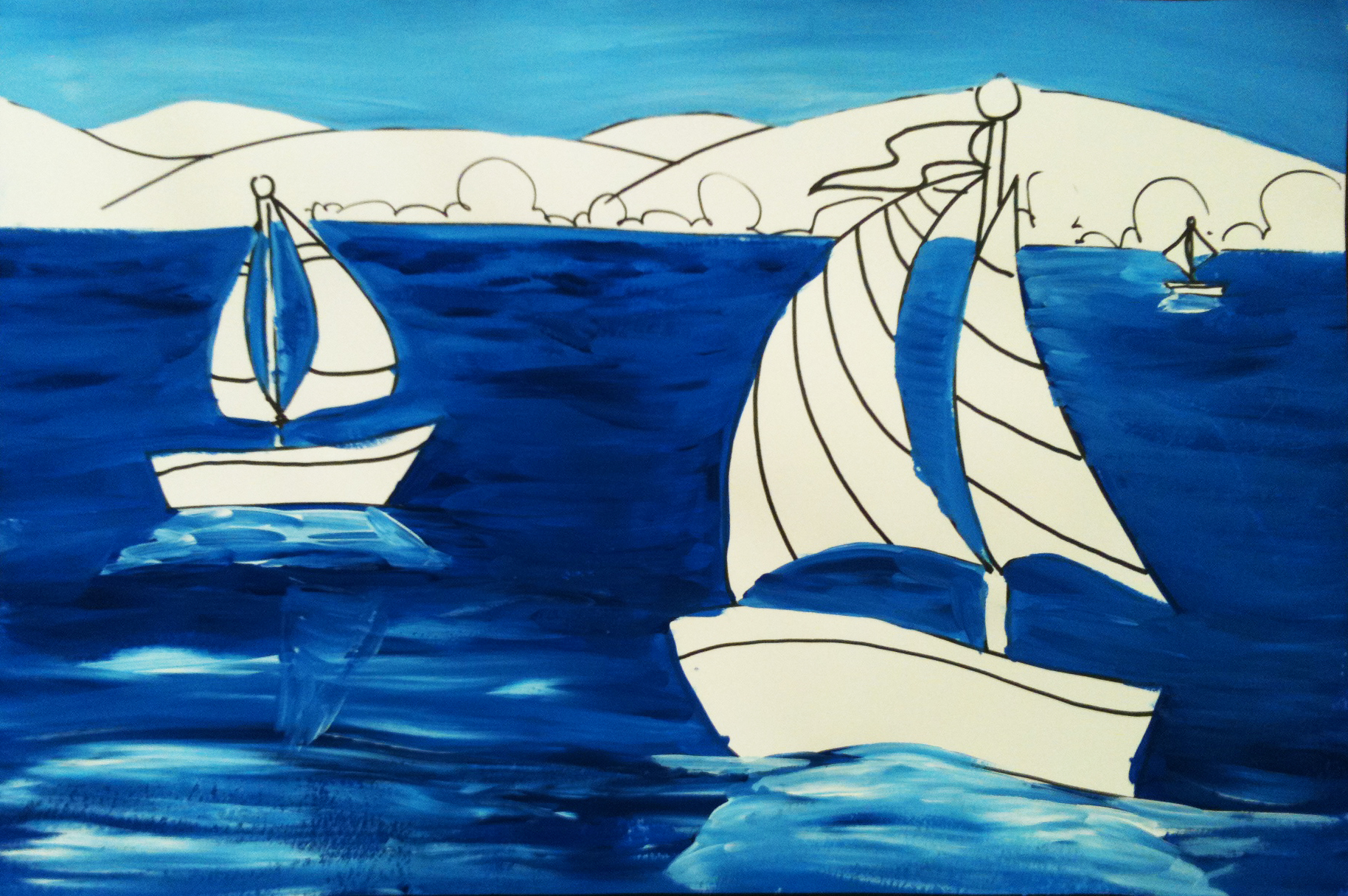 Elements Of Art Painting : Space and claude monet sailboat art lesson create