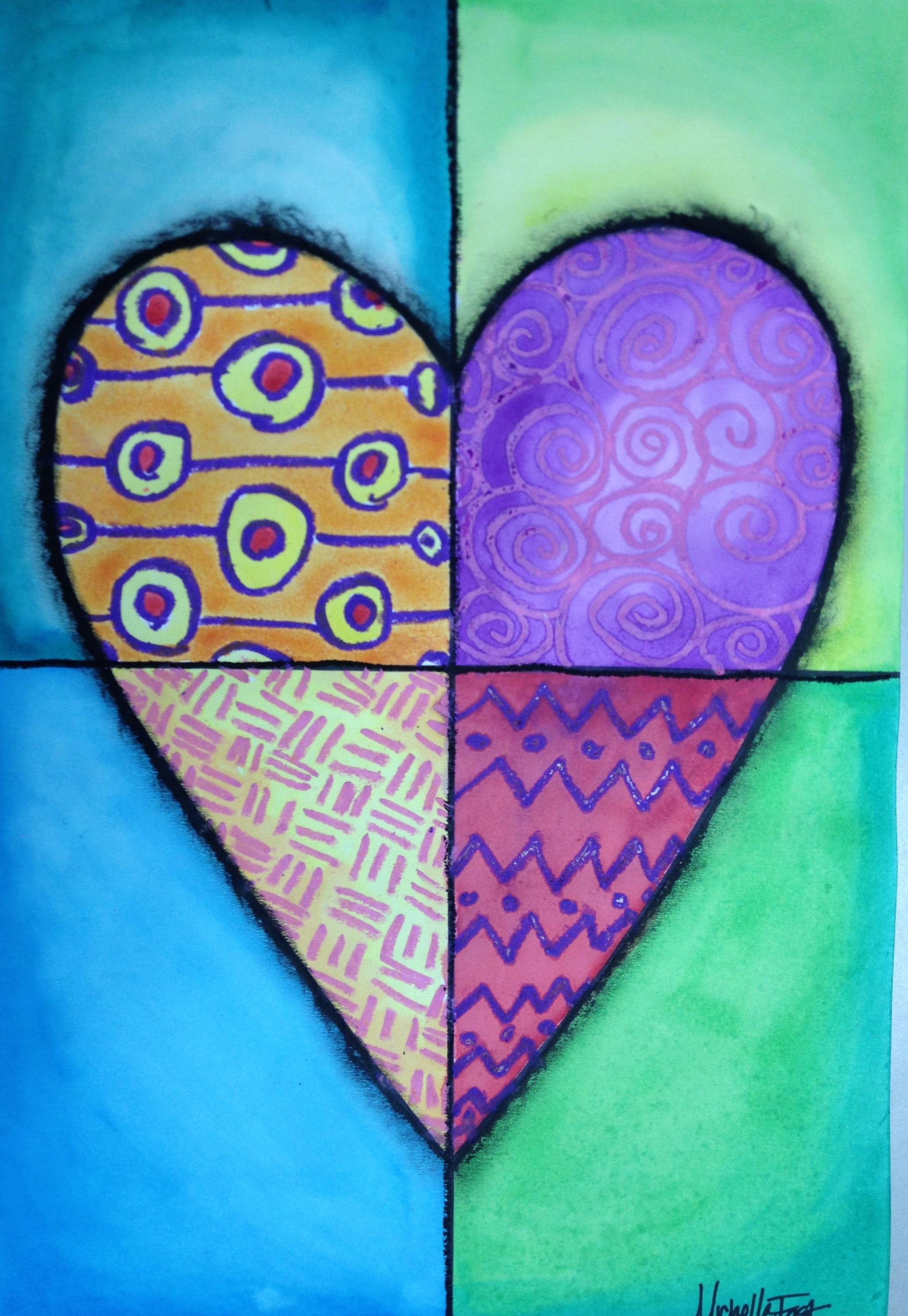 heart art - mixed media lesson
